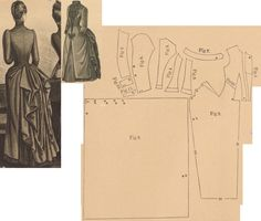 Der Bazar 1887: Outgoing dress from grey taffeta (foundation skirt, plastron, cuffs and collar) and grey tricot-fabric (overdress) with passemanterie adornments; 1. plastron, 2. front part, 3. and 4. side gores, 5. back part, 6. back drapery part in half size, 7. collar, 8. and 9. sleeve parts, 10. and 11. cuff parts in half sizes
