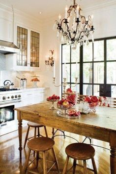 French country kitchen, pink flowers, chandelier