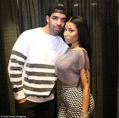 Pals: The 31-year-old rapper posed with Drake, 27, with whom she shares a playful relation...