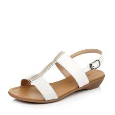 【他她tata 45580BL4 白色】TATA/他她白色牛皮/金属色羊皮45580BL4女皮凉鞋2014夏季