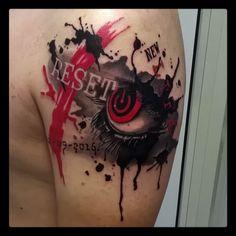 Wathercolor tattoo, eye trash polka.