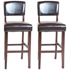 """Set of 2 Avalon 29"""" High Faux Leather Bar Stools - #Y6540 ($230) ❤ liked on Polyvore"""