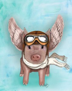 Aviator Piggy 14x11  Flying pig illustration flying by LoopyLolly, $36.00