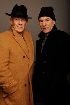"Ian McKellen & Patrick Stewart - The ""X"" men Patrick Stewart, Gandalf, Hollywood, X Men Film, Sir Ian Mckellen, Charles Xavier, Celebs, Celebrities, Famous Faces"