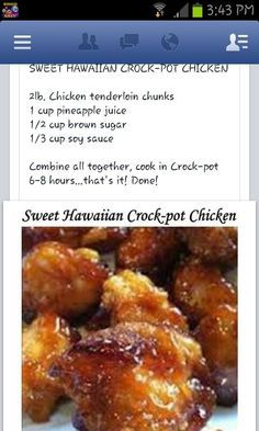 Sweet Hawaiian crock pot chicken, I love meals that are this easy and taste this good ! Crock Pot Food, Crockpot Dishes, Crock Pot Slow Cooker, Slow Cooker Recipes, Cooking Recipes, Crockpot Meals, Slow Cooker Meatloaf, Crock Pots, Plats Weight Watchers