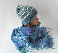 Slouchy knitting hat and scarf  Winter set hat and scarf Blue