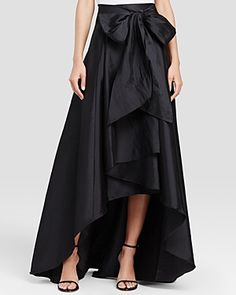 Adrianna Papell High/low Ball Skirt In Black Bow Skirt, High Low Skirt, Adrianna Papell, Dress Up, Feminine, Womens Fashion, Outfits, Clothes, Long Black