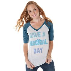 Burnout Raglan ''Have a Magical Day Mickey Mouse'' Tee for Women -- Blue