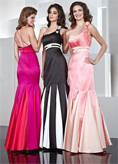 One Shoulder Empire Waist Floor Length Satin Prom Dress PD0035 www.simpledresses.co.uk £120.0000