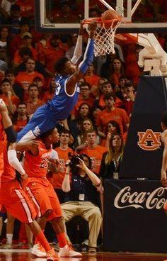 Kentucky's Nerlens Noel dunks over Auburn.  ~(Todd J. Van Emst/Associated Press)