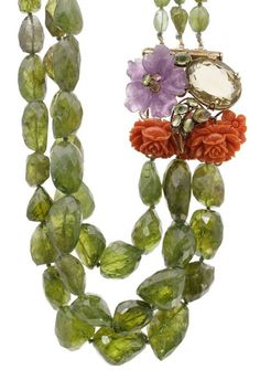 Iradj Moini Amethyst & Carved Coral Peridot Bead Necklace