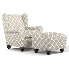 The Portfolio Home Furnishings Hana chair and ottoman set features upholstery in a durable barley tan and white trellis pattern fabric. Update your home decor with the elegance and luxury of this rounded arm transitional wingback chair and ottoman.