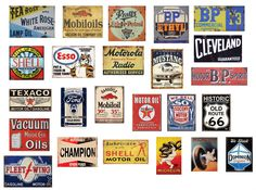 1/18 scale model .Vintage garage signs set 5). stickers/decals. GLOSS finish