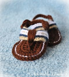 Crochet Baby Sandals, Baby Flip Flops, Crochet Baby Shoes, MADE TO ORDER, Sizes 0-6 Months and 6-12 Months. $19.50, via Etsy.