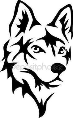 Wolf Head Wall Decal - x Wolf Head Vinyl Wall Decal Wolf Stencil, Stencil Art, Animal Stencil, Wolf Silhouette, Animal Drawings, Art Drawings, Tribal Wolf Tattoo, Wolf Face, Bild Tattoos