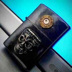 Custom zippo lighter  Skull & bullet