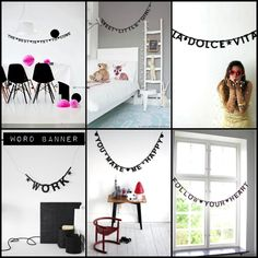 """We love this multilingual DIY letter banner - use it to spell out your child's name, a special song lyric, Happy Birthday, or even 'MARRY ME?'  There are loads of letters in each pack, so you can create several banners with one kit.  Tips:   Spell out your baby's name in the nursery, or a cute phrase like 'night night little one' or 'wake up bright'.  Write out favourite song lyrics in your kids room, or use words like 'PLAY' and 'READ' to define areas of their room. """"Welcome"""" by front…"""