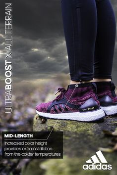 Winterize your exercise with the mid-length insulating collar on the UltraBOOST X All Terrain. Learn more at adidas.com.