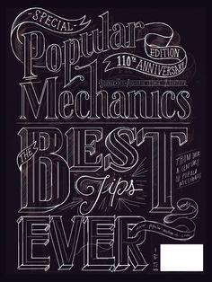 Ensayo typográfico para la edición aniversario de Popular Mechanics, cumpliendo 100 años