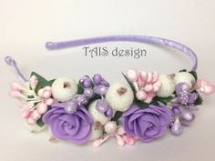 Lilac Floral Hairband Flower crown Wedding Headband Fashion bride Vintage hair Boho accessories berry white rose pink purple spring by TAISdesign on Etsy