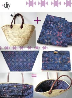 Panier / wicker basket by idplusdiy Diy Sac, Diy Clutch, Tapestry Bag, Craft Bags, Basket Bag, Fabric Bags, Knitted Bags, Handmade Bags, Wicker Baskets