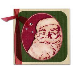 Holiday Card 24 Vintage Santa Ribbon Mini