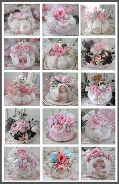 Teacup Pincushions as wedding centerpiece or shabby chic shower on silver look tray with doilie and pearls Shabby Chic Crafts, Vintage Shabby Chic, Shabby Chic Decor, Vintage Sewing, Fabric Crafts, Sewing Crafts, Sewing Projects, Quilting Projects, Needle Book