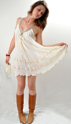 Weightless Boho India Gauze Trapeze Tent Dress Mini by Fuzzybellas, $55.00
