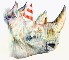 "Rhino's Party by Brandon Keehner STRETCHED CANVAS / SMALL (15"" X 13"") $85.00"