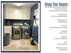 Shop the Room and get all the items pictured in this navy blue laundry room renovation reveal, from the hamper and conair clothing steamer to the laundry sign and oversized mason jar, perfect for holding detergent. Blue Laundry Rooms, Samsung Washer, Laundry Room Inspiration, Clothes Steamer, Laundry Signs, Tile Countertops, Linoleum Flooring, Floor Decor, Bathroom Renovations