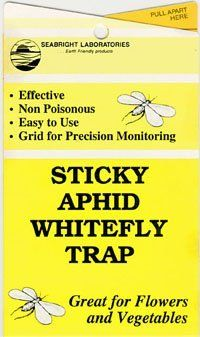 """Sticky White Fly Traps 5/pk by Whitmire. $5.95. Easy-to-open yellow 4""""x7"""" trap reverse folds to expose 4""""x14"""" stickysurface with grid for precision monitoring purposes. Approximately 30 square inch adhesive area. Non-poisonous and weatherproof. Punched with hole and twist-tie provided to easily hang trap. Easy to handle and count insects without getting sticky. These yellow sticky traps attract a broad spectrum of flying insects, including: aphids, whiteflies, ..."""