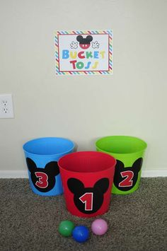 Toss Game, Sign and Stickers for Buckets - Josh's Mickey Mouse Clubhouse Celebration Mickey Mouse Clubhouse Birthday Party, Mickey Mouse 1st Birthday, Mickey Minnie Mouse, Mickey Mouse Parties, Mickey Party, 3rd Birthday Parties, 2nd Birthday, Mickey Mouse Games, 1st Birthday Activities