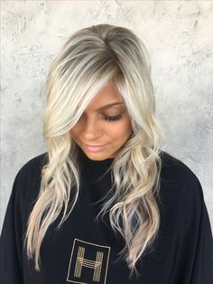 Super light blonde highlights by @alexaa3 done @habitsalon in Gilbert AZ by Alexa Icy blonde, cool blonde, tapped out roots, ashy blonde, wavy hair