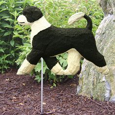 3 Coat Styles-Portuguese Water Dog Figure Garden Stake. Home Decor Yard Products & Gifts.