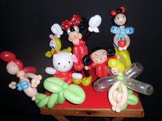 Figuras con globos para cumpleaños de niñas. La Sirenita, Hello Kitty, Piolín, Minnie Mouse, Pucca, Campanilla, Blancanieves.  http://magomadrid.es/espectaculos/globoflexia