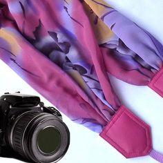 Pink, purple scarf camera strap. Camera Strap. Camera accessories. Camera strap for Canon, Nikon, Fuji & other cameras. Graet gift. ;41