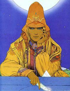 Mezzobusto di un classico personaggio alla Moebius: cappello alto, vestiti larghi e sguardo tra il sognante e il sornione