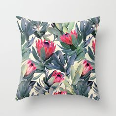 Painted Protea Pattern Throw Pillow by Micklyn | Society6