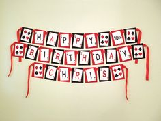 Printable DIY Red and Black Casino Night Poker Playing Card Theme Personalized Happy Birthday Banner