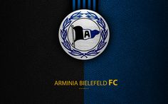 Download wallpapers DSC Arminia Bielefeld FC, 4k, leather texture, German football club, logo, Bielefeld, Germany, Bundesliga 2, second division, football