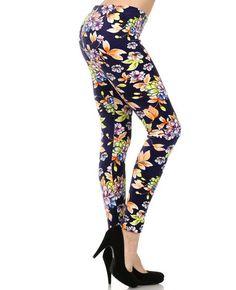 Blue Purple / 95% Polyester, Spandex 5% / Vintage Floral Print-stretch Velour / One Size Leggings