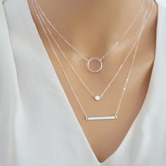 Silver Layered Necklace Set  Silver Bar Necklace Jewelry For Women Charm Necklace  XL045♦️ SMS - F A S H I O N 💢👉🏿 http://www.sms.hr/products/silver-layered-necklace-set-silver-bar-necklace-jewelry-for-women-charm-necklace-xl045/ US $1.50