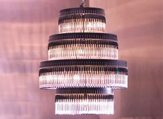 wow... The recycled Bic ballpoint pen chandelier looks great and really does help to save the planet.