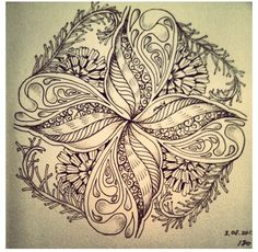 Zentangle by : Nadia Borisevich... this seems like a victorian design...