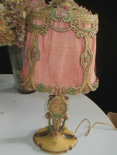 BEAUTIFUL marked 1907 vintage lamp cherubs dusky rose silk shade very delicate