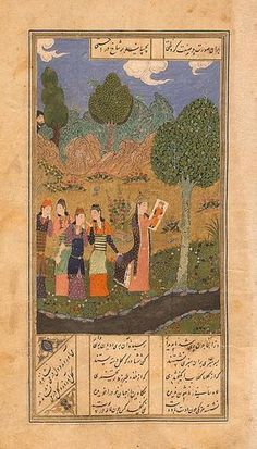 This is one of the 12 miniatures illustrating the poem Khusraw and Shirin in the Hermitage's famous Persian manuscript of the Khamsa, an anthology of five poems by the 12th-century poet Nizami, who lived on the territory of present-day Azerbaijan. In 1431 this manuscript of the Khamsa was copied out in Herat by the calligrapher Mahmud for Sultan Shahrukh , son of the legendary Tamerlaine . Khusraw and Shirin is the first poem in the literature of the Near and Middle East in which man'...