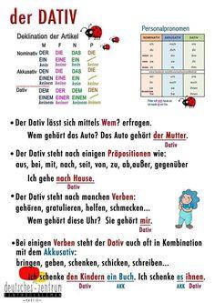 Dativ - Deutsch/ Alemán / German / DAF / German Wortschatz / Vocabulario / Grammatik / Dativ Sie sind an de - Study German, German English, Learn German, Learn French, German Grammar, German Words, Dativ Deutsch, Dative Case, German Resources