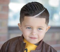 Sculpted Pompadour with Diagonal part and Tapered Undercut - Toddler Boy Haircut