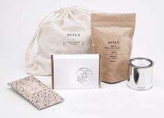 lovely packaging material palette by BETA 5: flour sack, kraft paper, paint can, white carboard.