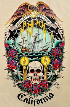 Cormack Tattoos by Cormack California Nautical Ship Canvas Art Print – moodswingsonthenet